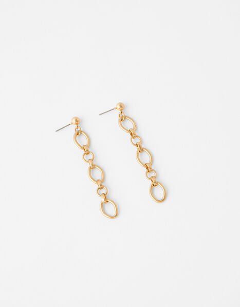 Circle Link Chain Drop Earrings, , large