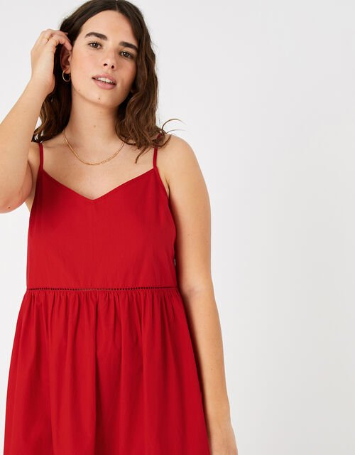 Tiered Maxi Dress in Organic Cotton, Red (RED), large