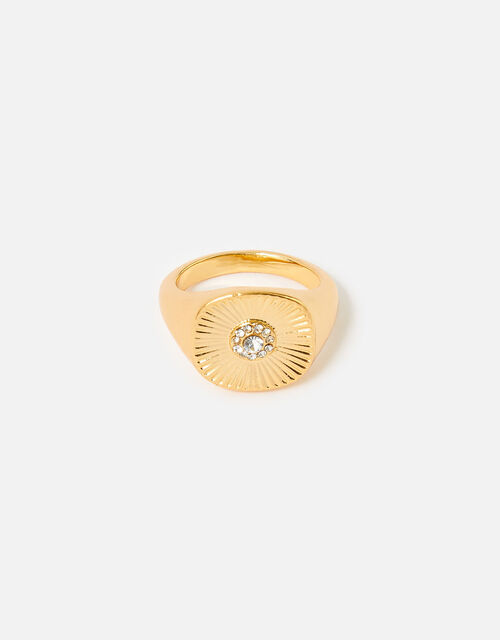 Reconnected Sparkle Signet Ring, Gold (GOLD), large