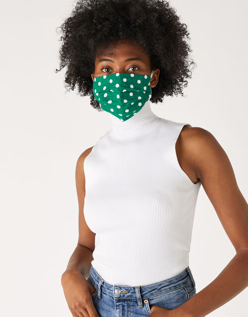 Polka Dot Pleated Face Covering in Pure Cotton, , large