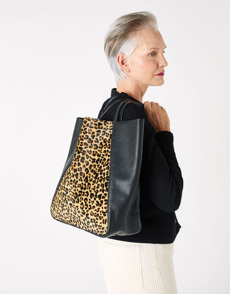 Suki Leopard Leather Tote Bag, , large