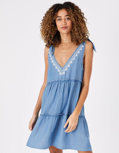 Tie Strap Embroidered Chambray Dress Blue, Blue (BLUE), large