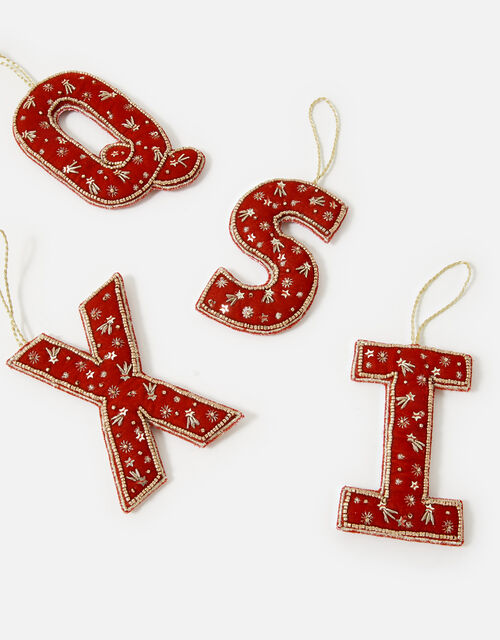 Embellished Initial Hanging Decoration, Red (RED), large