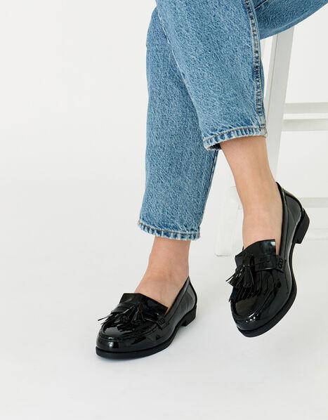 Patent Fringe Loafers Black, Black (BLACK), large