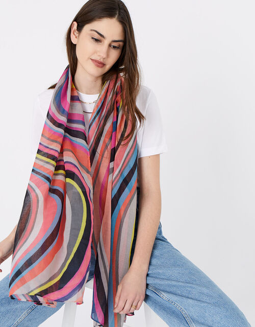Retro Swirl Scarf in Recycled Polyester, , large