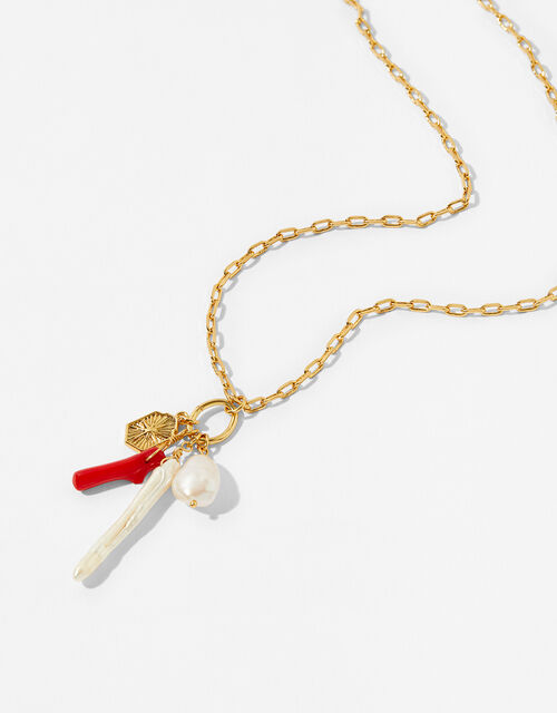 Gold-Plated Pearl Charmy Necklace, , large