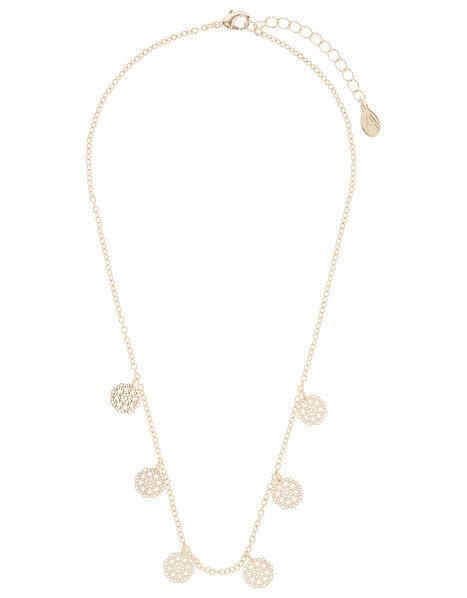Filigree Disc Pendant Necklace, , large