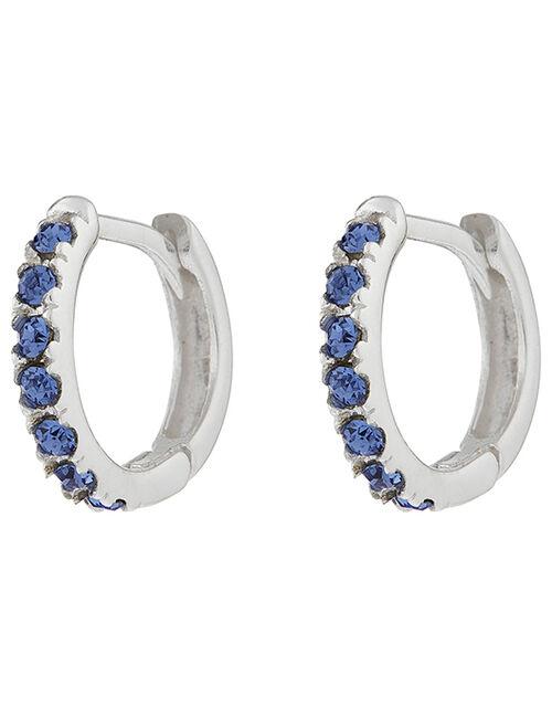 Sterling Silver And Gem Huggie Hoop Earrings, , large