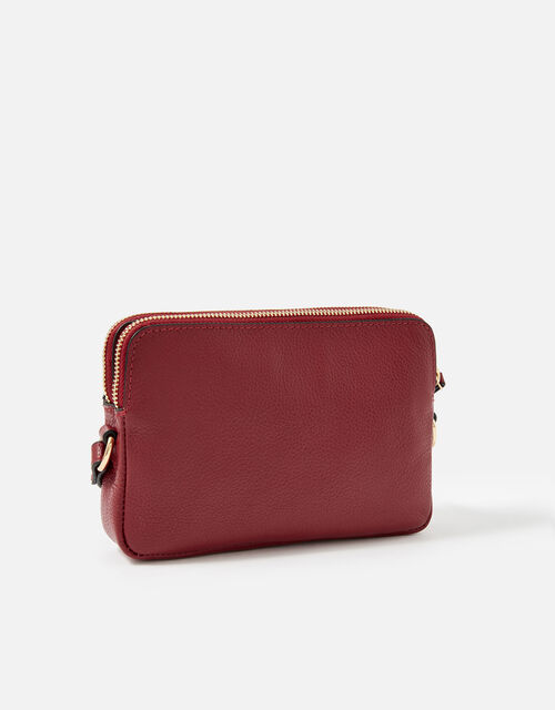 Hanna Double Zip Leather Cross-Body Bag , Red (RED), large