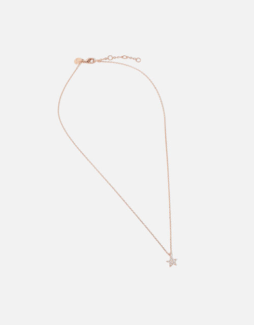 Rose Gold-Plated Star Pendant Necklace, , large