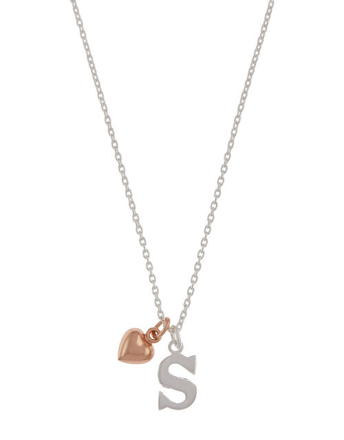 Sterling Silver Initial Necklace with Heart Charm - S, , large