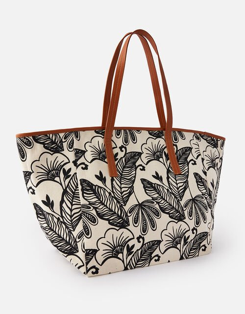 Perla Print Shopper , Black (BLACK/WHITE), large