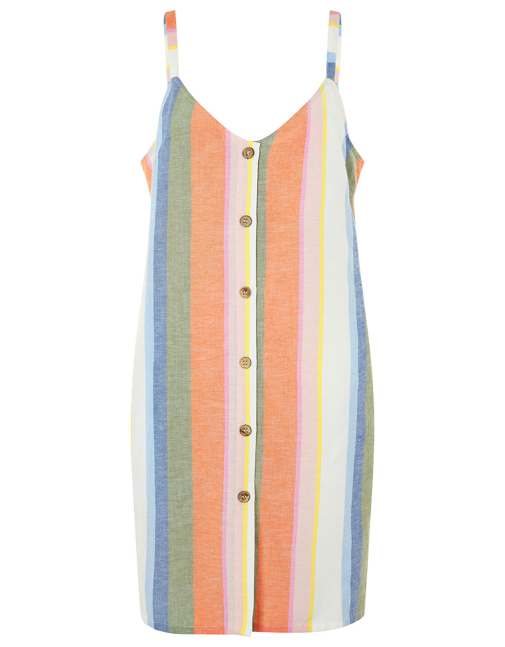 Stripe Print Mini Dress in Pure Cotton, Multi (PASTEL-MULTI), large