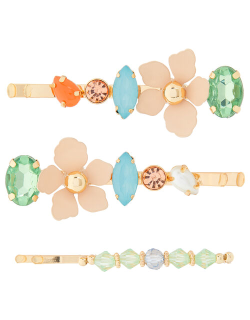 Flower, Gem and Bead Hair Slide Set, , large