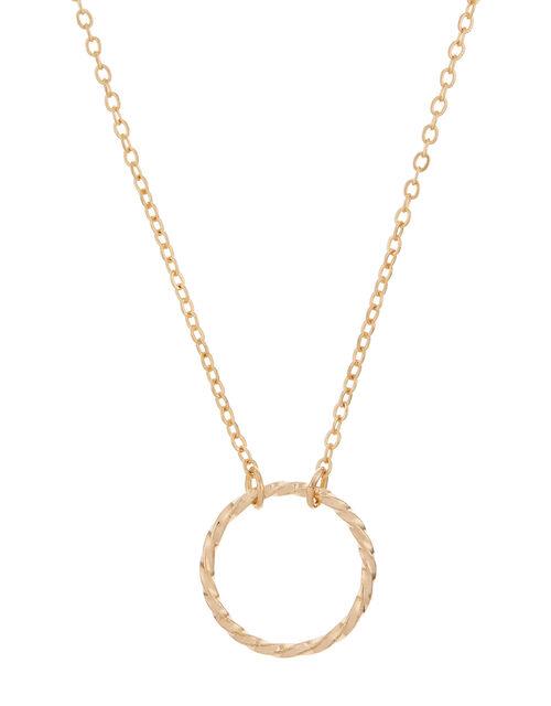 Twisted Circle Pendant Necklace, , large