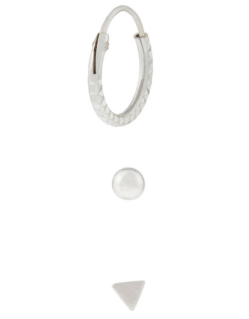 Sterling Silver Earring Set, , large