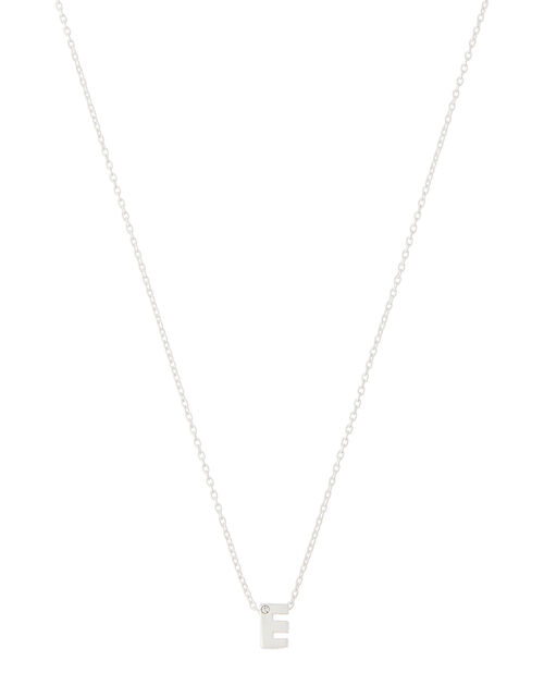 Sterling Silver Sparkle Initial Necklace - E, , large