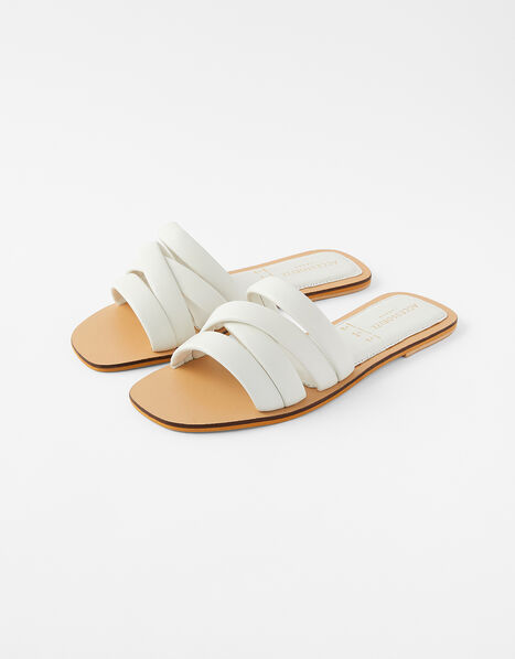 Sophie Strappy Leather Sliders White, White (WHITE), large