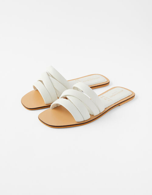 Sophie Strappy Leather Sliders, White (WHITE), large
