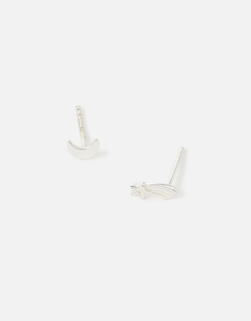 Sterling Silver Shooting Star Studs, , large