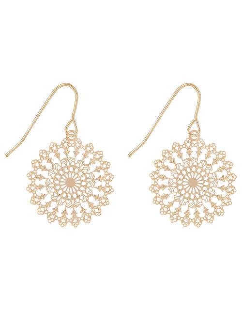 Filigree Sunburst Short Drop Earrings, , large