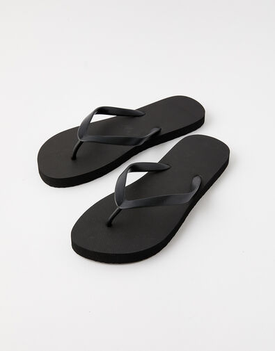 Plain Flip Flops Black, Black (BLACK), large