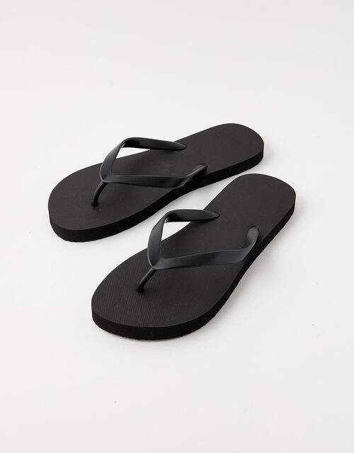 Plain Flip Flops, Black (BLACK), large