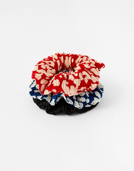Pleated Animal Hair Scrunchie Set, , large