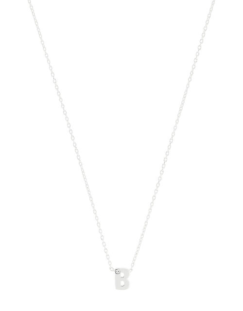 Sterling Silver Sparkle Initial Necklace - B, , large