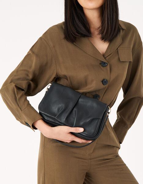 Ruched Leather Shoulder Bag, , large