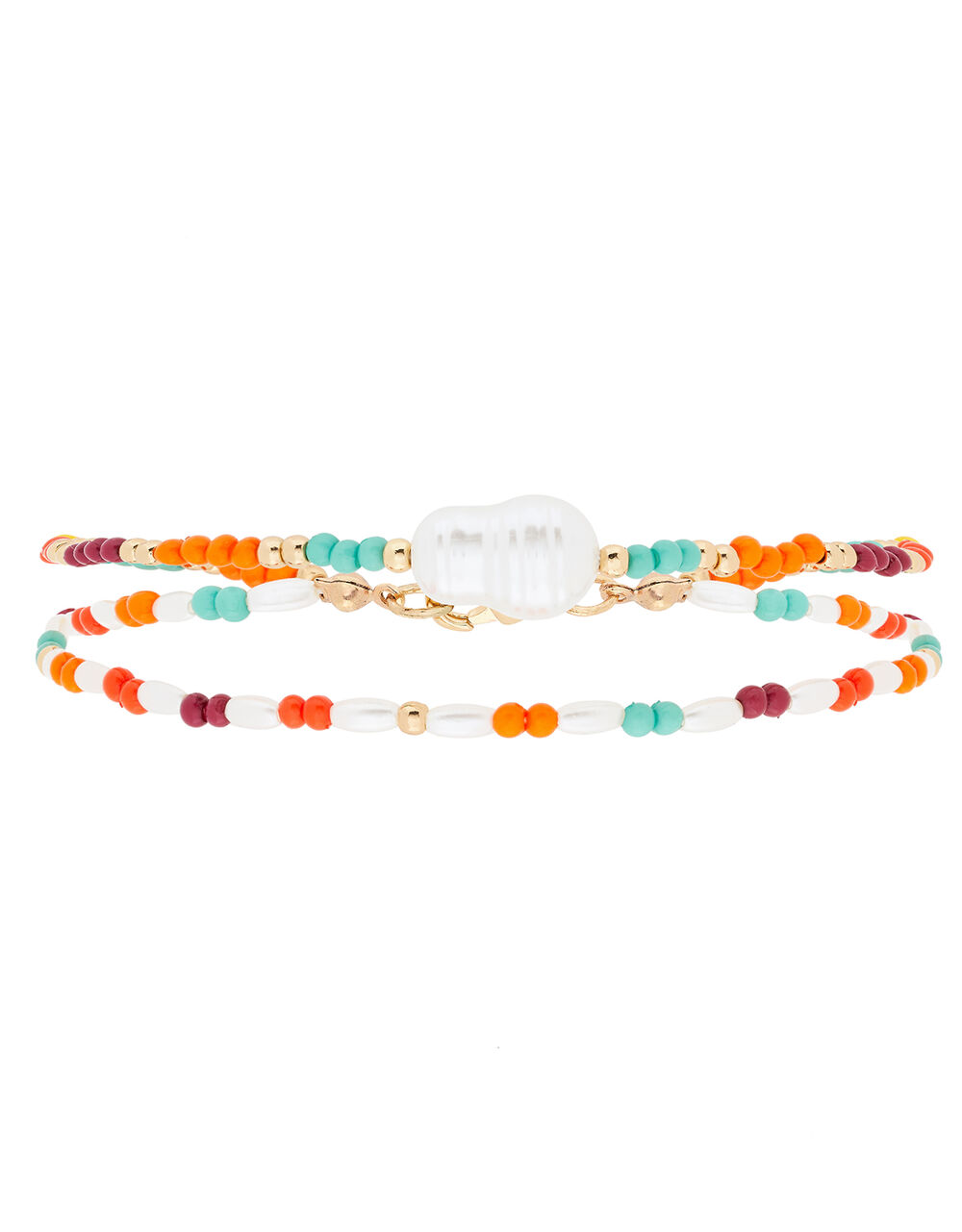 Beaded Pearly Double Anklet, , large