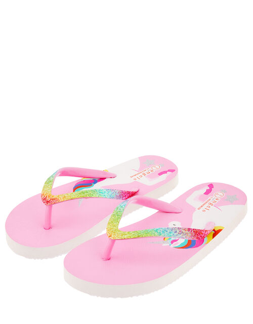 Retro Unicorn Glitter Flip Flops, Multi (BRIGHTS-MULTI), large