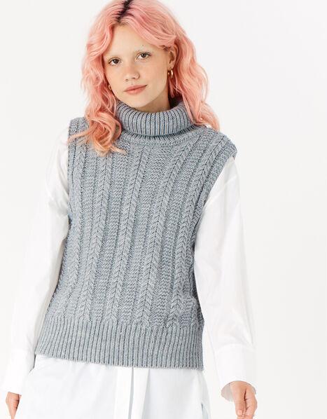 Polo Cable Knit Sleeveless Vest Grey, Grey (LIGHT GREY), large