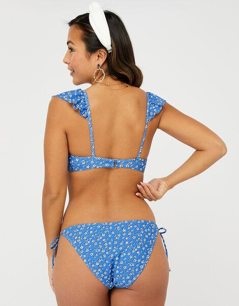 Floral Frill Triangle Bikini Top Blue, Blue (BLUE), large