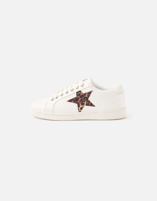 Leopard Star Trainers, White (WHITE), large