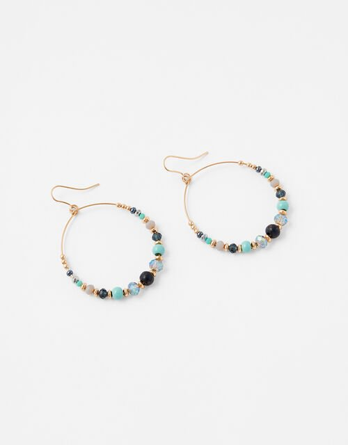 Wild Country Beaded Hoop Earrings, , large