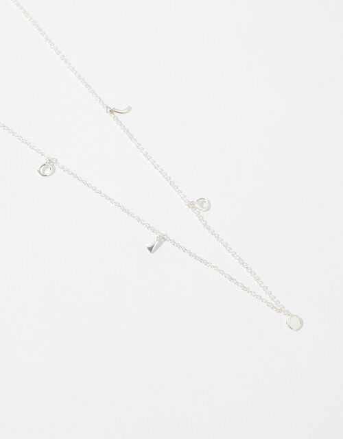 Sterling Silver Moon Charm Necklace, , large