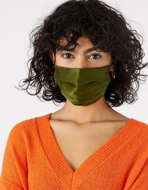 Pleated Face Covering in Pure Silk, Green (KHAKI), large