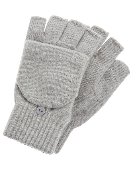 Plain Capped Gloves Grey, Grey (LIGHT GREY), large