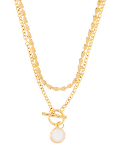 T-Bar and Stone Pendant Multirow Necklace, , large