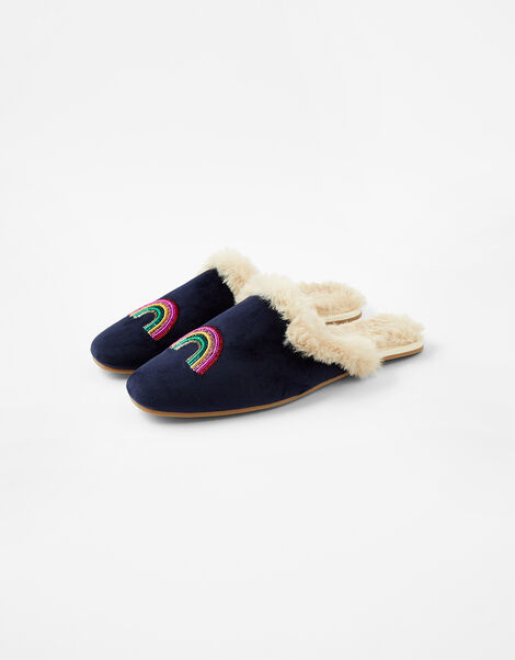 Sequin Rainbow Mule Slippers Blue, Blue (NAVY), large