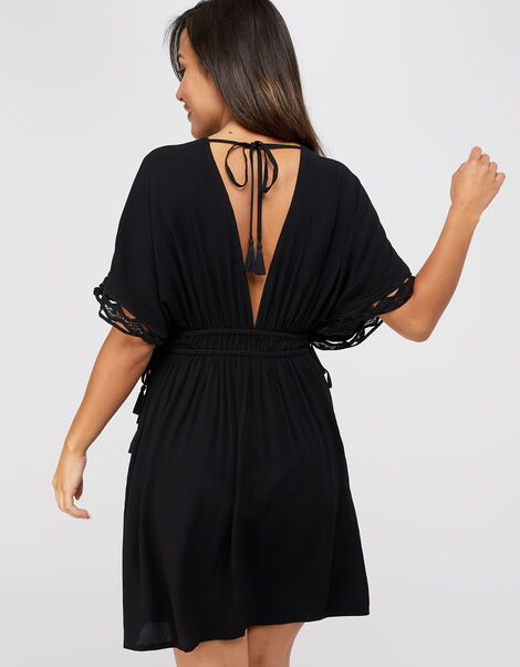 Lace Trim Crinkle Kaftan Black, Black (BLACK), large