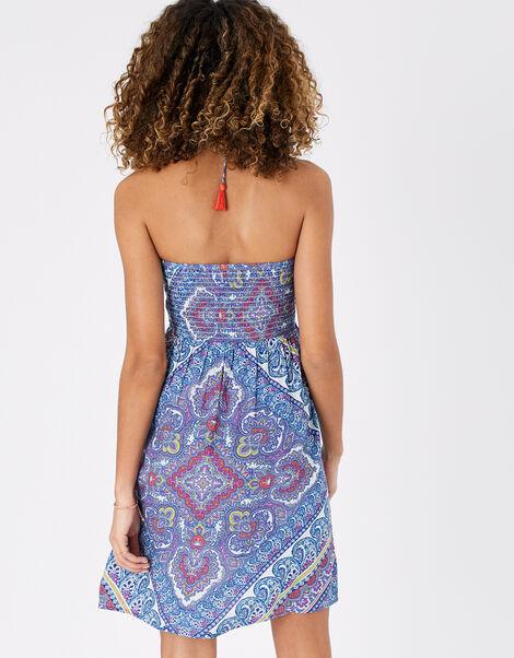 Kerala Scarf Print Bandeau Dress Blue, Blue (BLUE), large