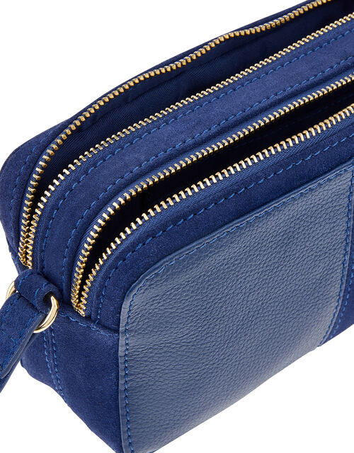 Macy Suede and Leather Cross-Body Bag, Blue (BLUE), large