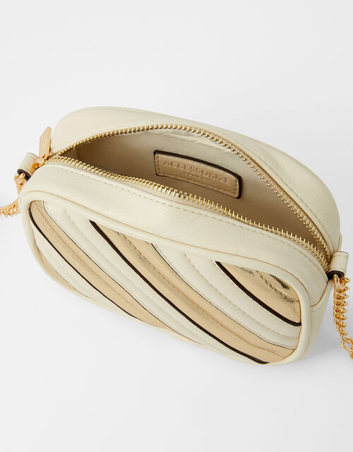 Stripe Cross-Body Camera Bag, Cream (CREAM), large