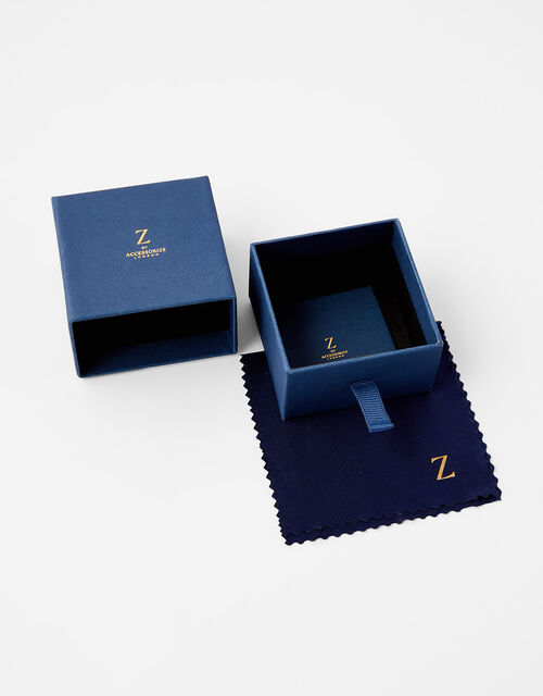 Gold Vermeil White Topaz Moon Stud Earrings, , large