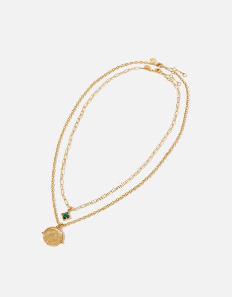 Gold-Plated Malachite Layered Necklace, , large