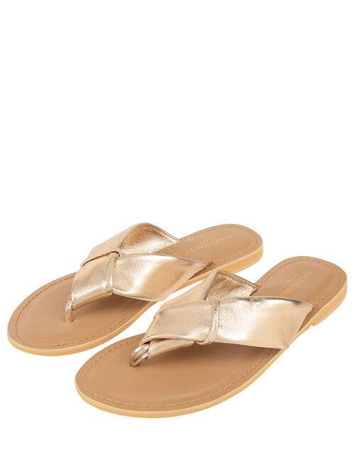 Knotted Thong Sandals, Gold (GOLD), large