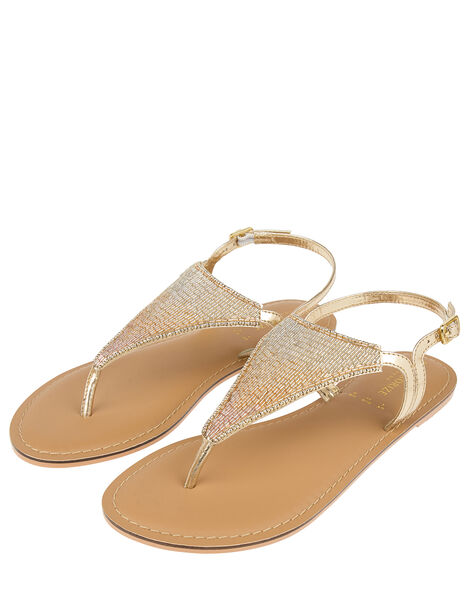 Tahiti Beaded Sandals Gold, Gold (GOLD), large