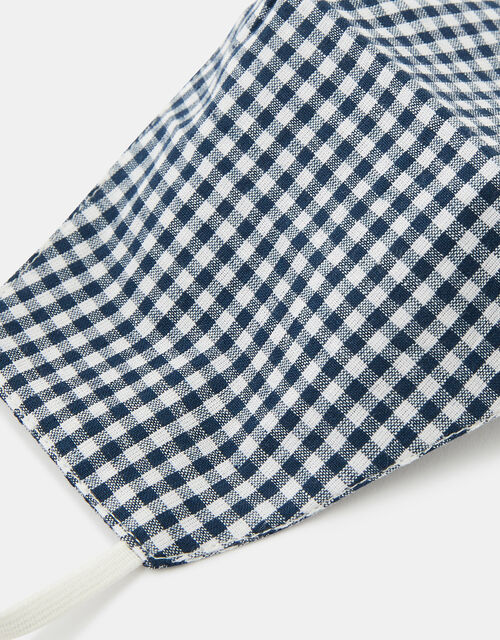 Gingham Face Covering in Pure Cotton, , large